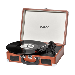 The Bellevue Complete Vinyl Collection Record Player Brown [Includes 20 Vinyl Albums]