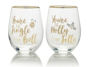 Mikasa Celebrations Stemless Glasses Jingle Bell/Holly Jolly 470ml [Set of 2]