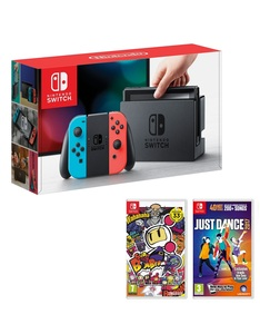 Nintendo Switch 32GB Console with Neon Joy-Con Controller + Bomberman + Just Dance
