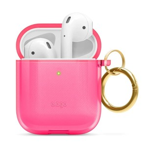 Elago Clear Hang Case Neon Hotpink for AirPods