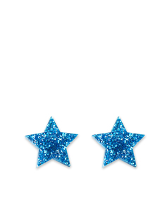 Little Moose Space Unicorn Glitter Blue Star Stud Earrings
