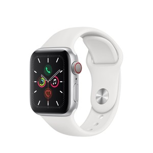 Apple Watch Series 5 GPS + Cellular 40mm Silver Aluminium Case with White Sport Band S/M & M/L