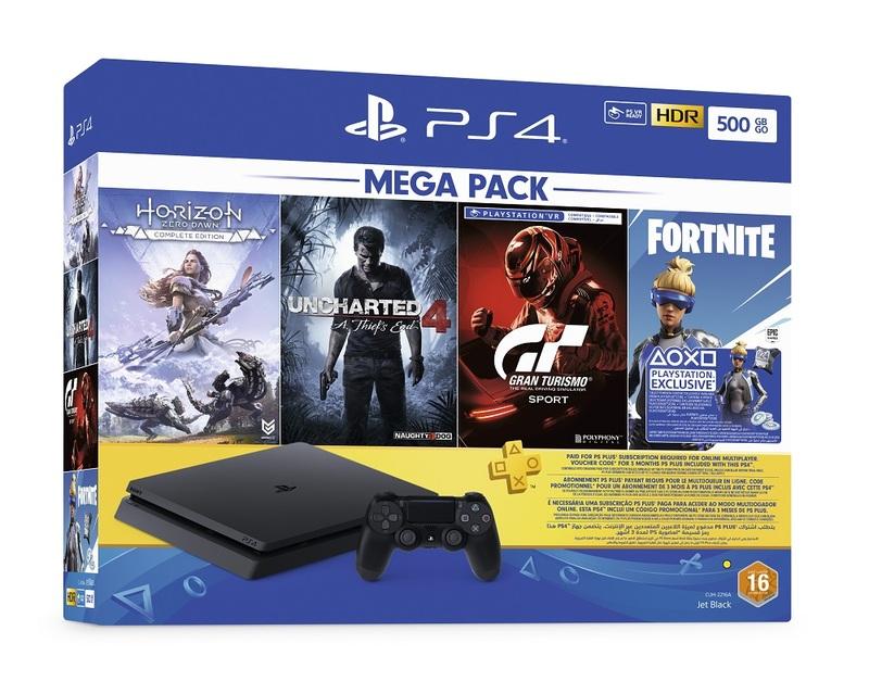 PS4 Slim 500GB 2216A Jet Black + Horizon Zero Dawn Complete Edition +  Uncharted 4 + GT Sport + Fortnite 3 Months