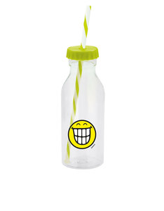Smiley Emoticon Teeth Green Bottle with Straw