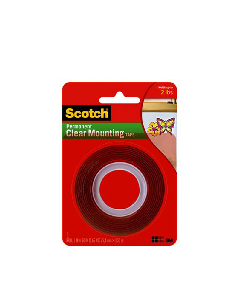 3M Scotch Clear Mounting Tape Heavy Duty 1Inx60In