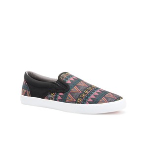 Bucketfeet Tribal Black Low Top Canvas Slip On Women's Shoes
