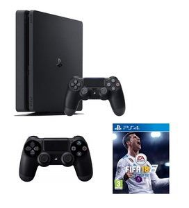PS4 Slim 1TB Jet Black + Fifa 19 + DS4 Controller