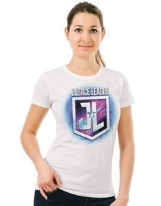 CID Justice League Movie Purple Shield White Women's T-Shirt