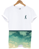 Distinkt Youth Summer Clouds White Unisex Crew Neck T-Shirt Xl