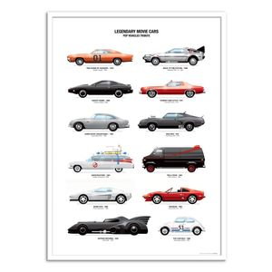 Legendary Movie Cars Art Poster by Olivier Bourdereau [50 x 70 cm]