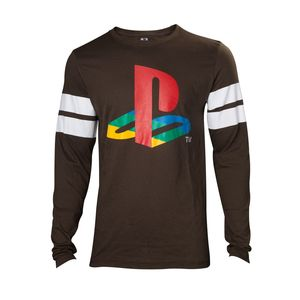 Difuzed Playstation Logo Striped Army Men'S Long Sleeve Green S