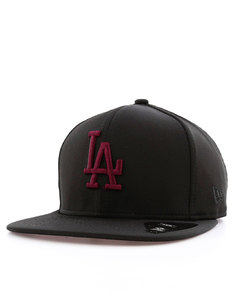 New Era Jersey Tech LA Dodgers Black/Maroon Cap