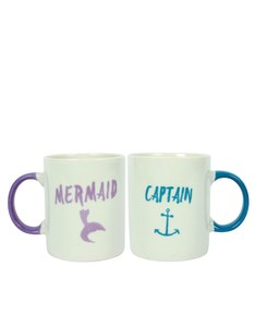 Captain & Mermaid Ceramic Mugs [Set of 2]