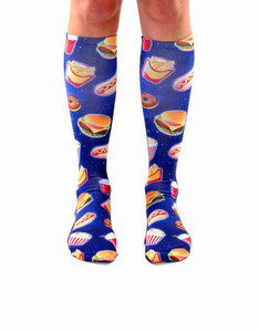 Living Royal Fast Food Galaxy Unisex Knee High Socks