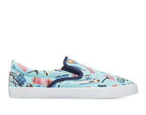 Bucketfeet Let's Go Surfing Light Blue Low Top Men's Canvas Slip-Ons