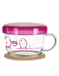 Ritzenhoff My Moments Tea Glass Ussu Chick With Pink Lid