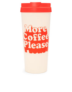 Bando Hot Stuff Thermal Mug More Coffee Please Red Cream 16Oz