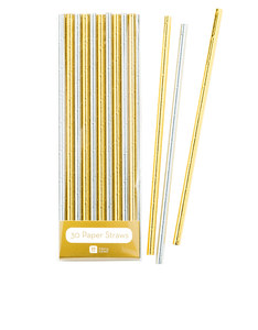 Talking Tables Modern Metallics Gold & Silver Foil Straws [Pack of 30]