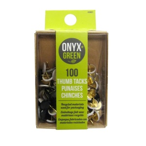 Onyx + Green Thumb Tacks in Recycled Kraft & PET Packaging [100 Pack]