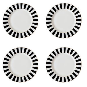 Bombay Duck Stripy Black/White Tea Plates [Set of 4]