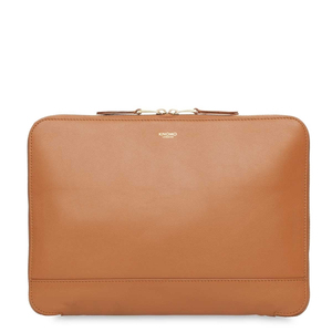 Knomo Mayfair Luxe Mason Leather Clutch Bag Caramel For Tablet 12 Inch