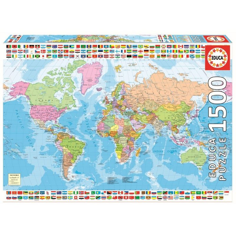 Educa Political World Map 1500 Pcs Jigsaw Puzzle   Jigsaw Puzzles   Puzzles    Games + Puzzles   Toys   Virgin Megastore