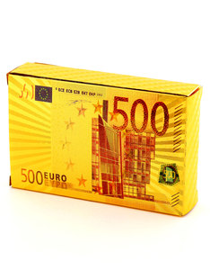 500 Euros Gold Foil Plated Playing Cards