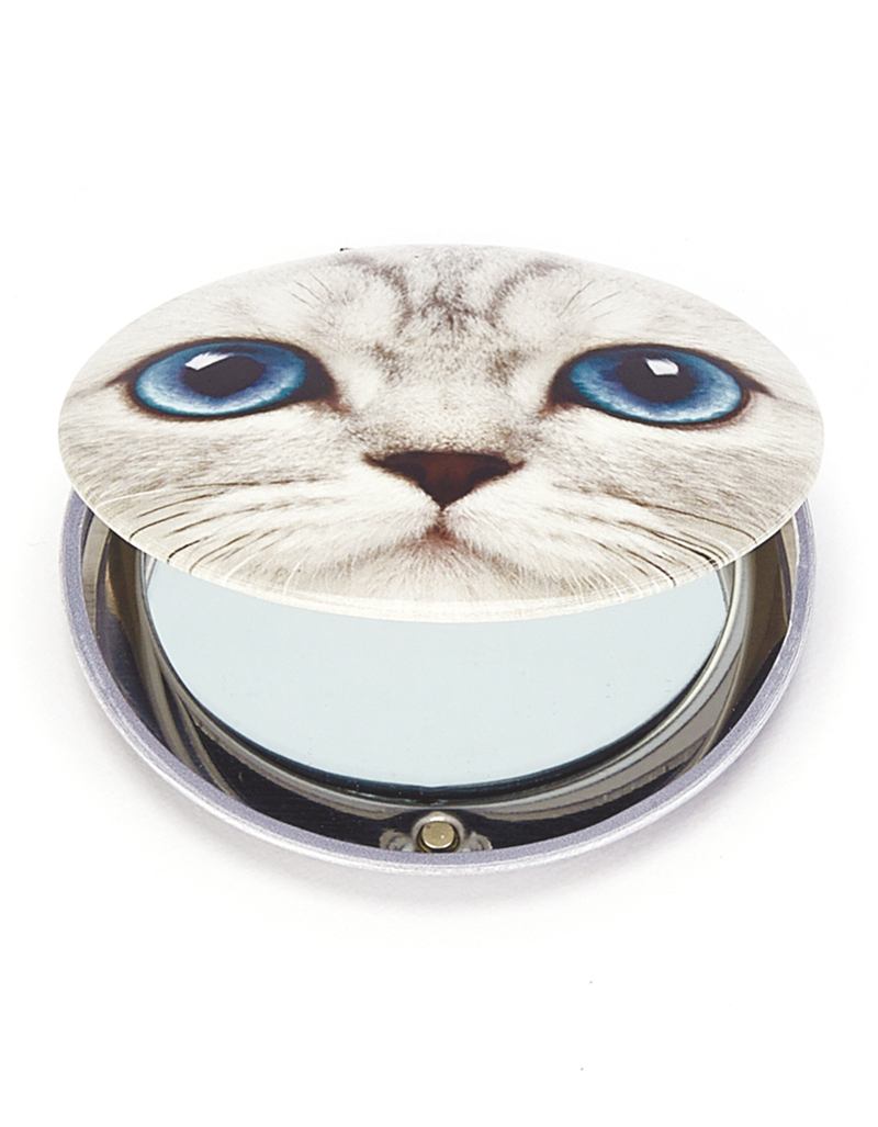 Cats Eye Silver Kitty Clam Mirror