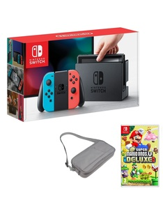 Nintendo Switch 32GB Console with Neon Joy-Con Controller + Super Mario Bros. U Deluxe + Travel Bag
