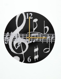 Music Gifts Company Black Music Notes Black Clock