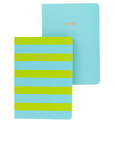 Go Stationery Colourblock Teal/Lime Stripe A6 Set Of 2 Notebooks