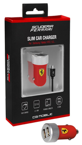Ferrari Car Charger Red W/Micro Usb Connector 2.1A Slim Rubber Finish