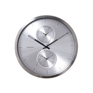 Karlsson Wall Clock Multiple Time Aluminium Brushed