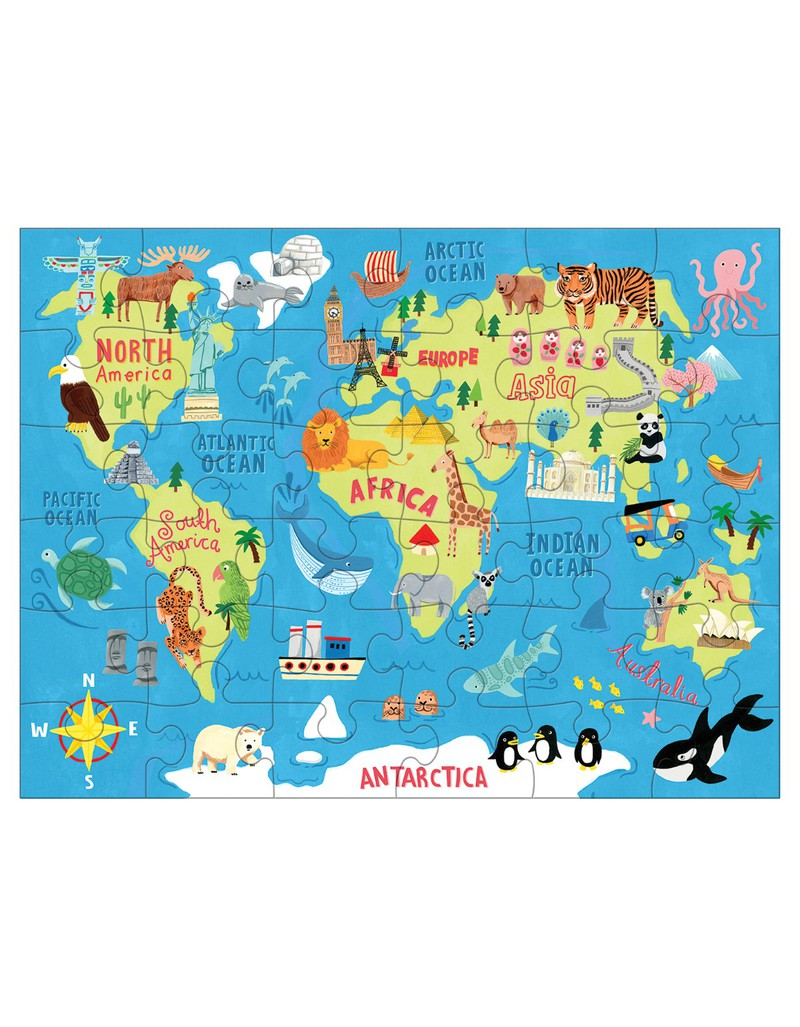 Map Of The World In Detail.Mudpuppy Map Of The World Puzzle To Go