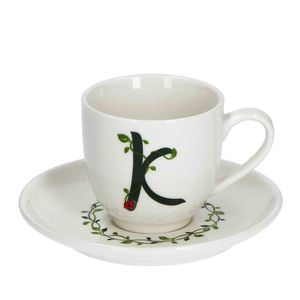 La Procellana Bianca Solotua Coffee Cup with Saucer Letter K 3 oz