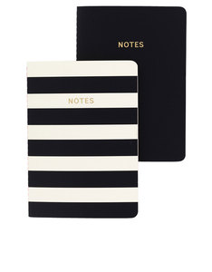 Go Stationery Colourblock Mono Stripe A6 Set Of 2 Notebook