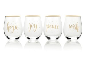 Mikasa Celebrations Stemless Glasses Holiday Sentiments 470ml [Set of 2]