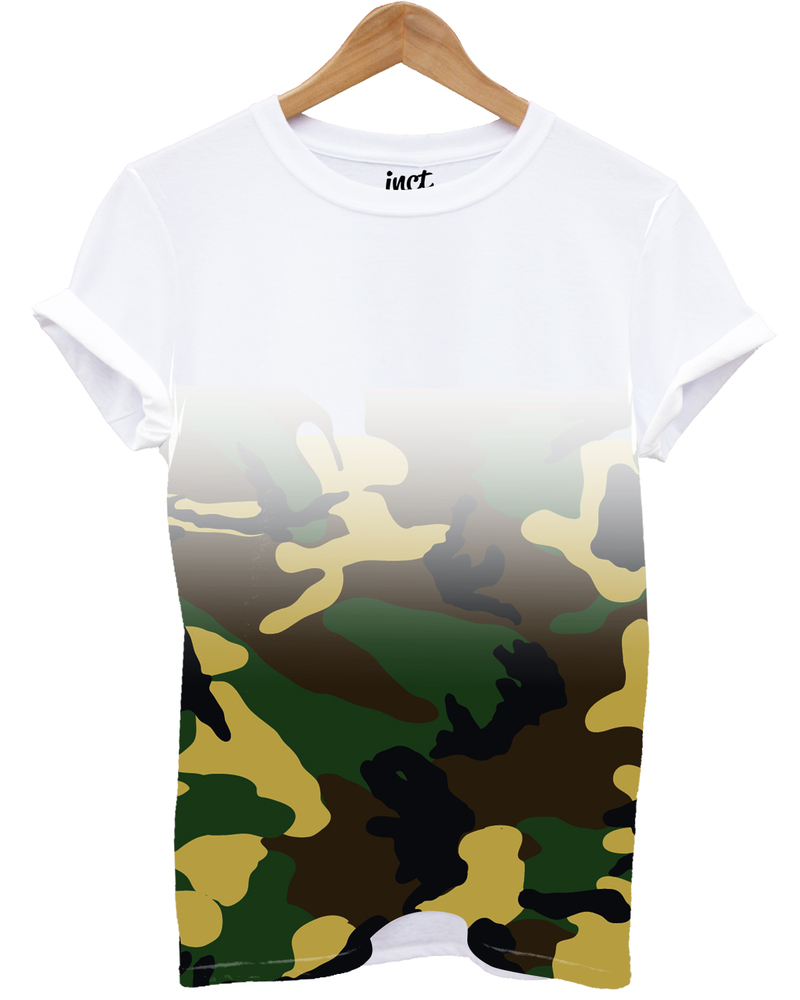 Camouflage Fade All Over White Unisex T-Shirt L