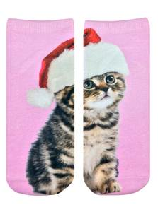 LIVING ROYAL SANTA KITTY WOMEN'S ANKLE SOCKS