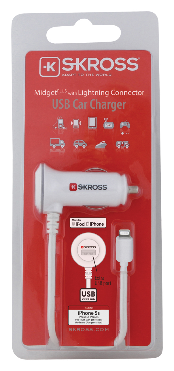 Skross Midget Plus Usb 2.1A W/Lightning Cable White Car Charger