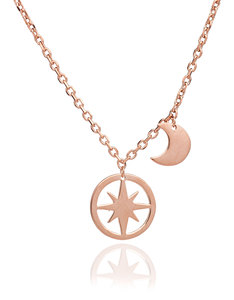 Chavin Rose Gold Moon And Star Pendant