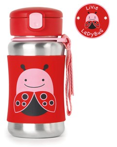 Skip Hop Zoo Stainless Steel Straw Bottle Ladybug