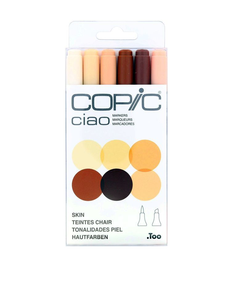 Copic Ciao Markers Skin Tones Set Of 6 Highlighters Markers Pens Pencils Trendy Stationery Stationery Virgin Megastore