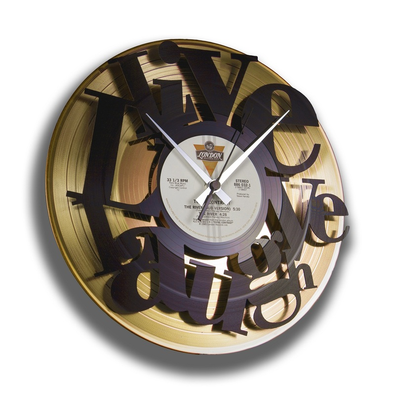 Disc O Clock Live Love Laugh Gold Vinyl Clock