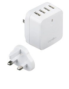 Energea Travelite White 6.8A 4 USB Wall Charger