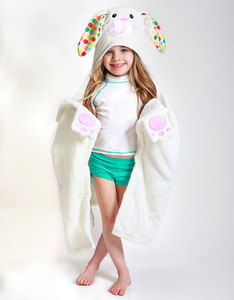 Zoocchini Bella The Bunny White Kids Hooded Towel