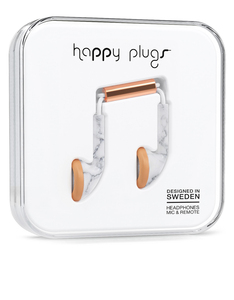Happy Plugs Deluxe White Marble/Rose Gold Earbuds