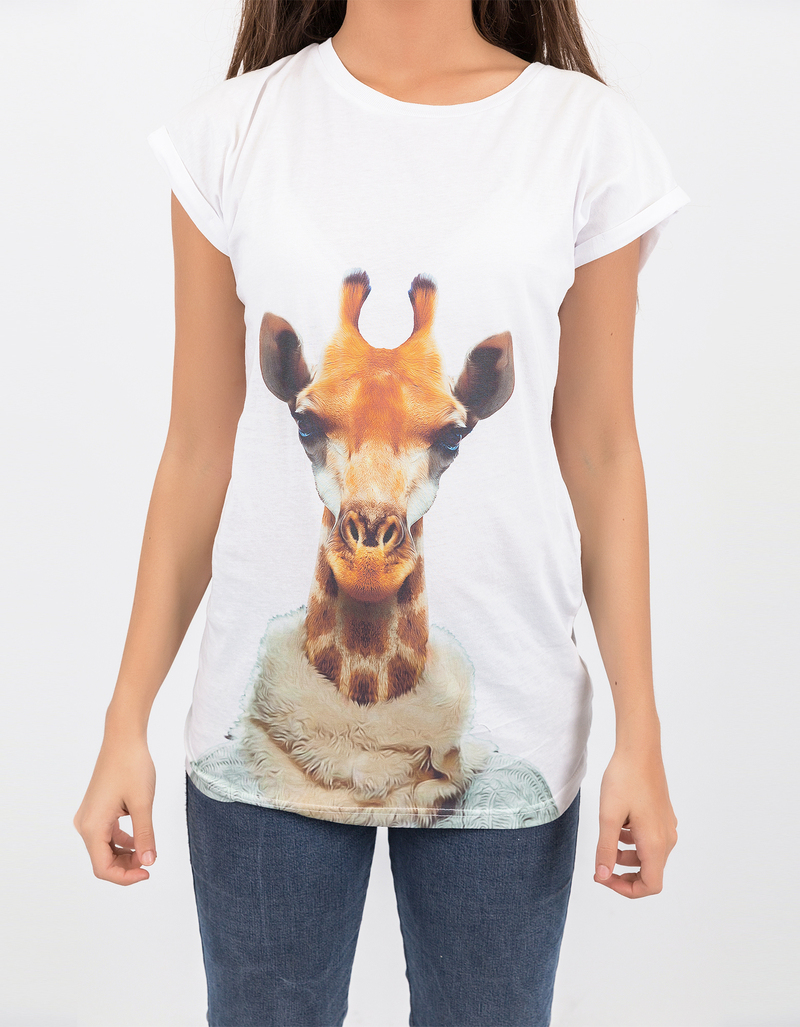 Saint noir giraffe rolled sleeve white t shirt tops t for Film noir t shirts