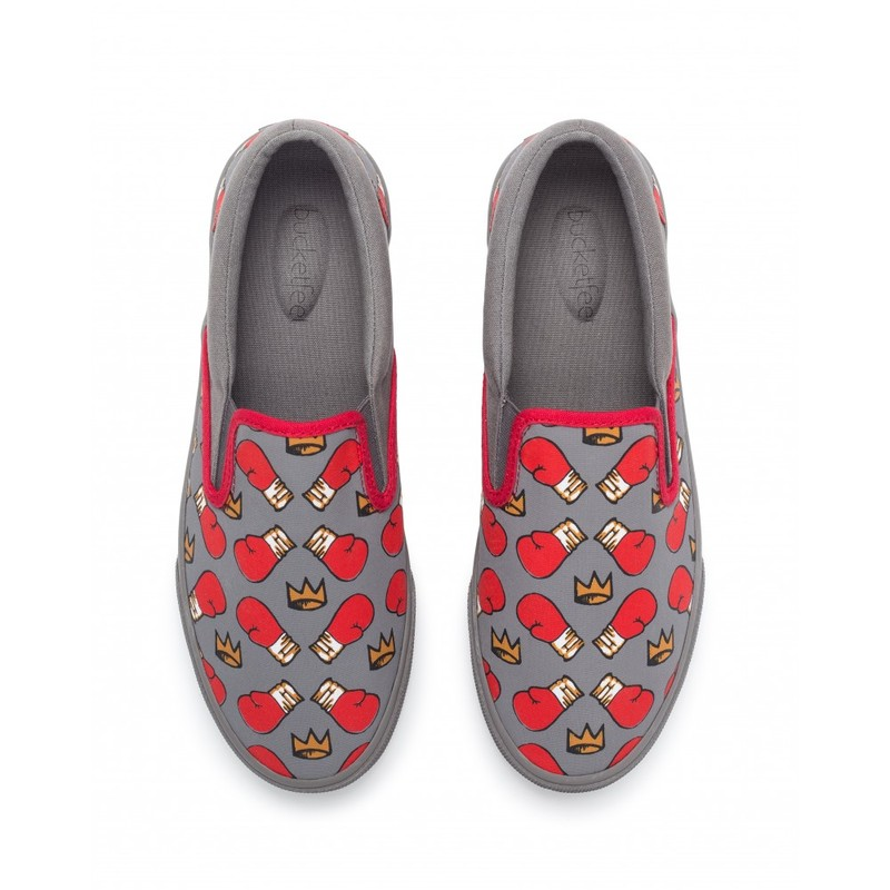Bucketfeet Fight Night Charcoal/Red Low Top Canvas Slipon Men's Shoes
