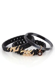 THE RUBZ NANO 2PACK BRACELETS BLACK & SOFT GOLD